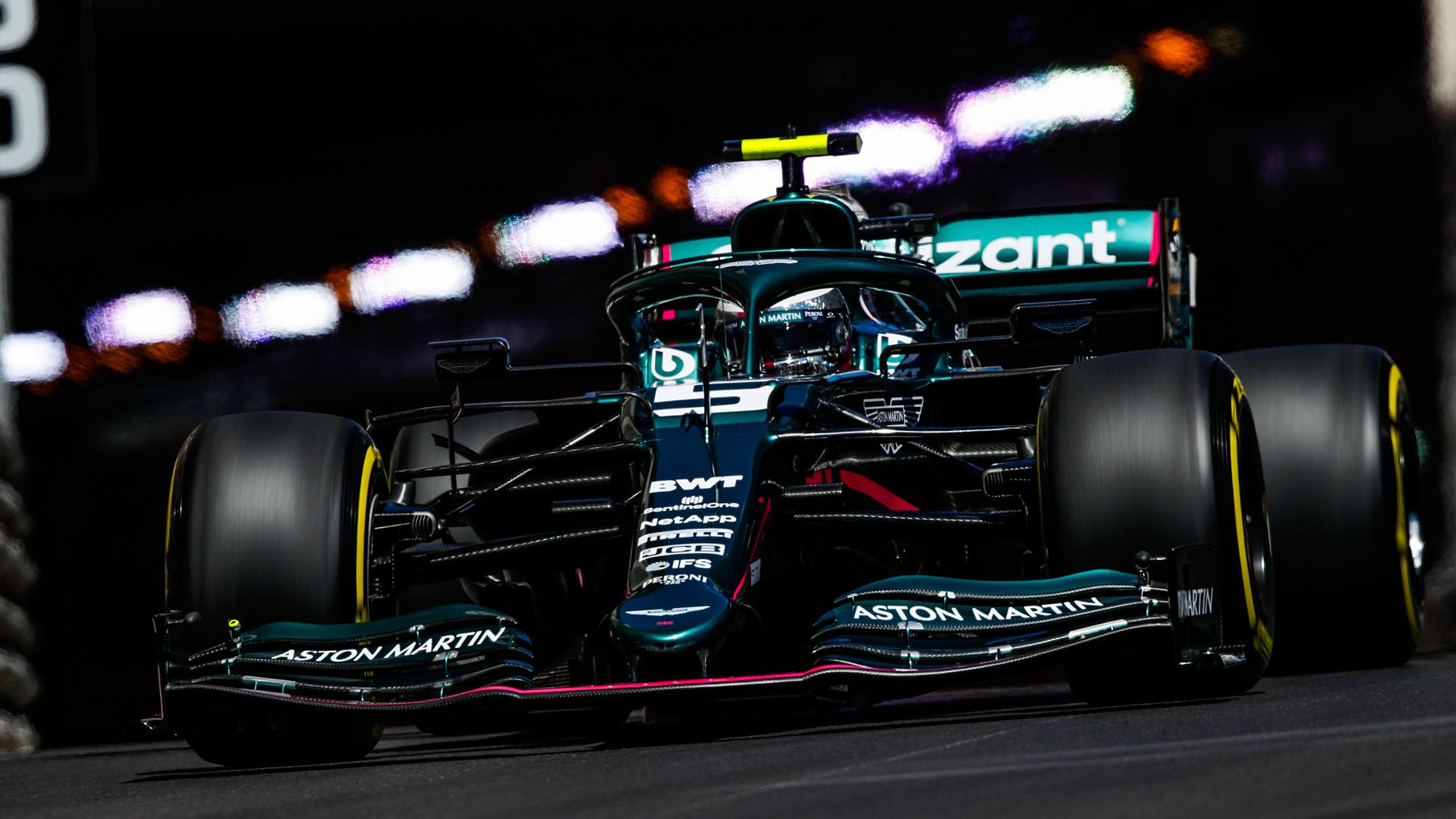 Aston Martin of Lance Stroll in the 2021 Monaco Grand Prix