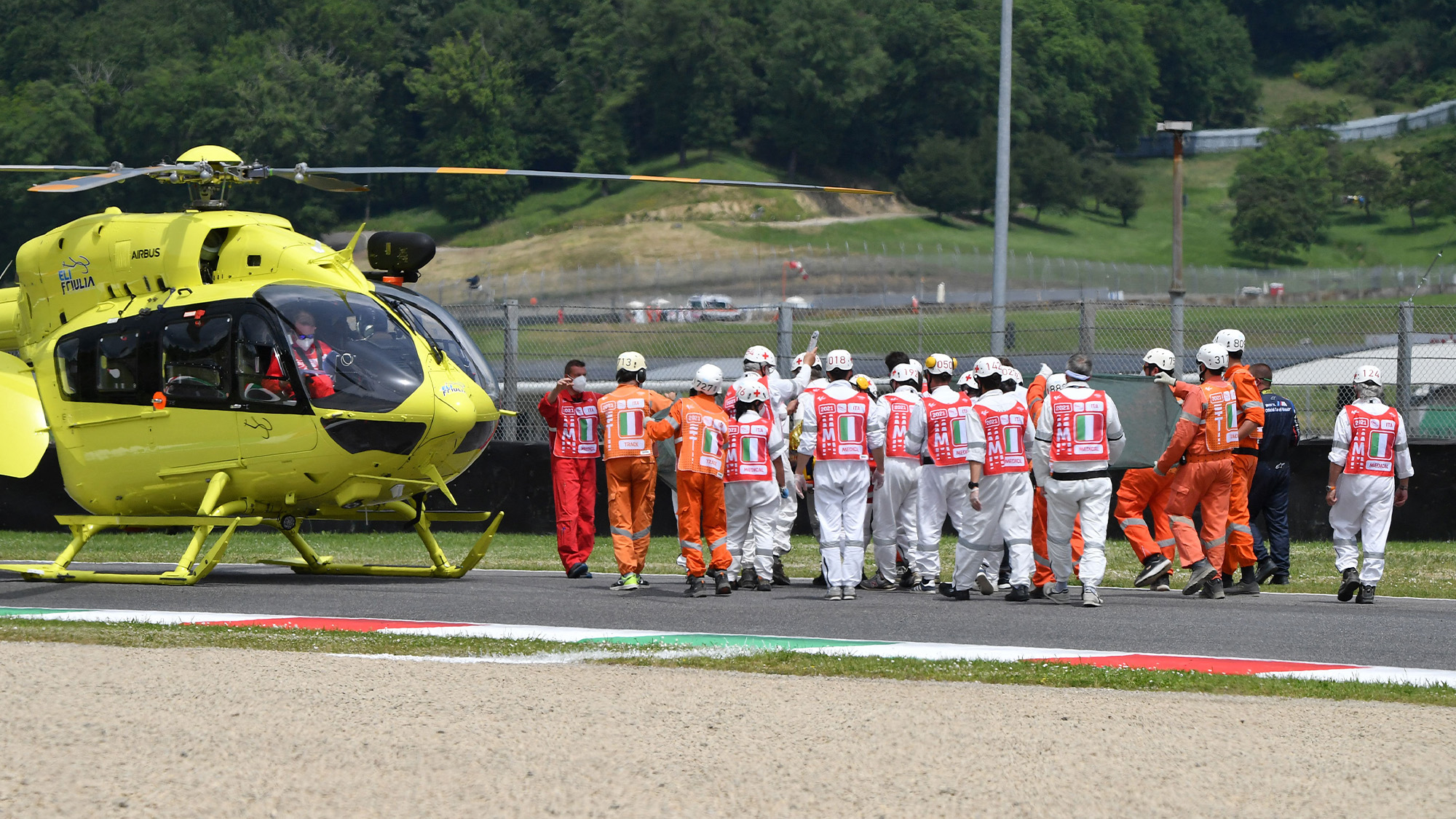 Helicopter at Mugello after Jason Dupasquier fatal crash in 2021
