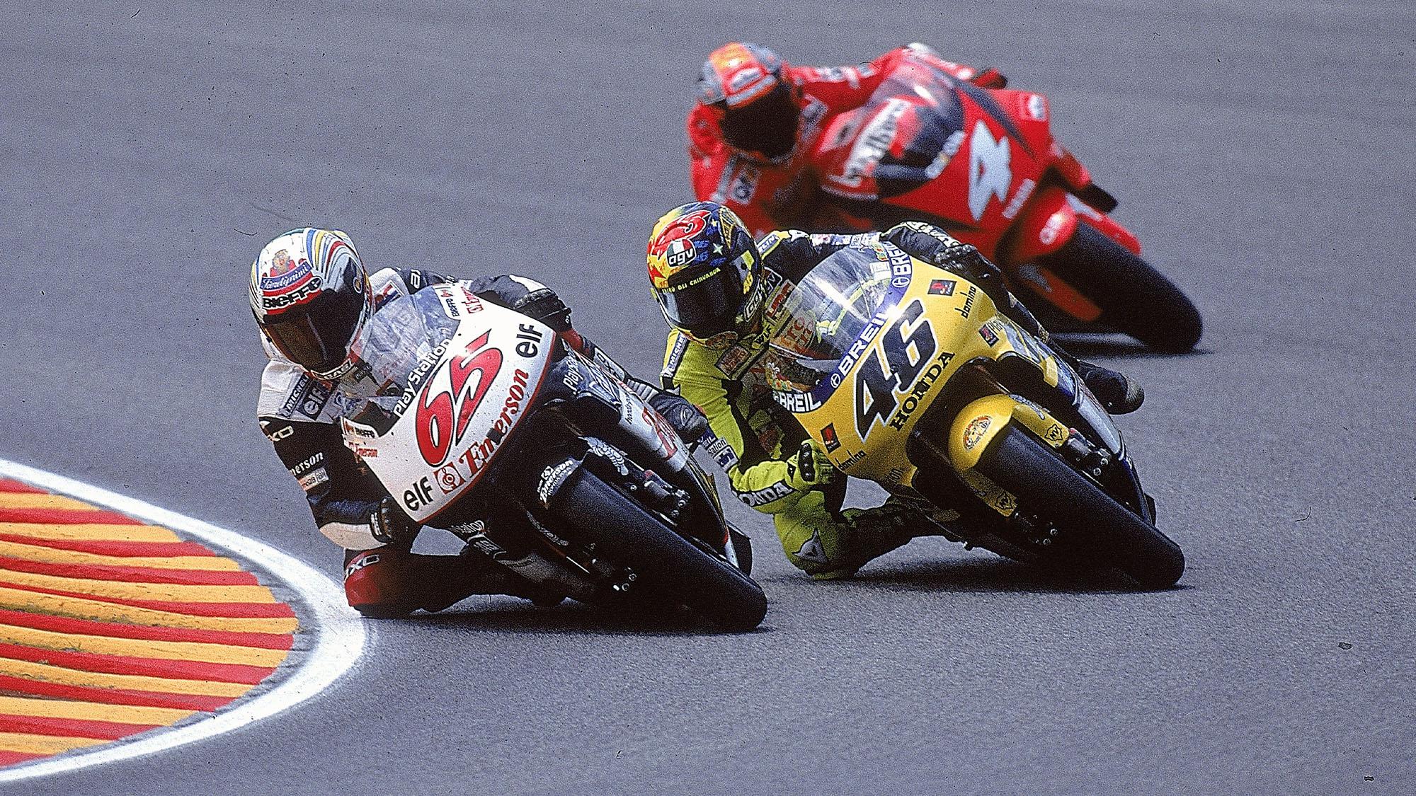Valentino Rossi at Mugello with Capirossi and Biaggi in 2000