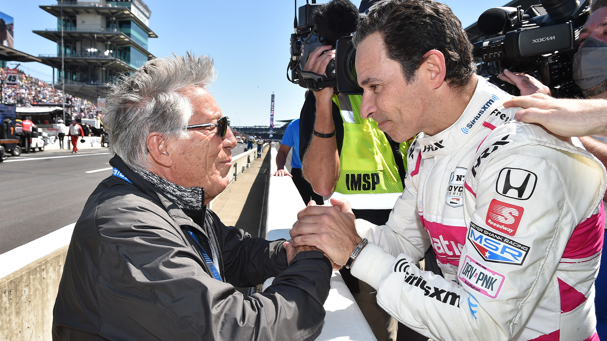 Helio Castroneves with Mario ANdretti after winning the 2021 Indy 500