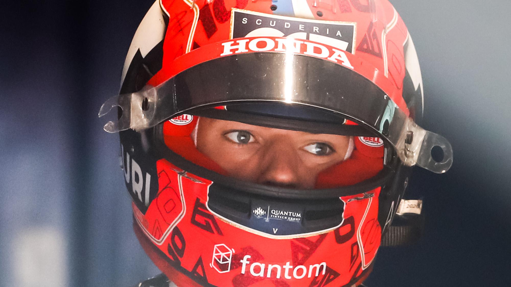 Pierre Gasly looks through the visor of his helmet