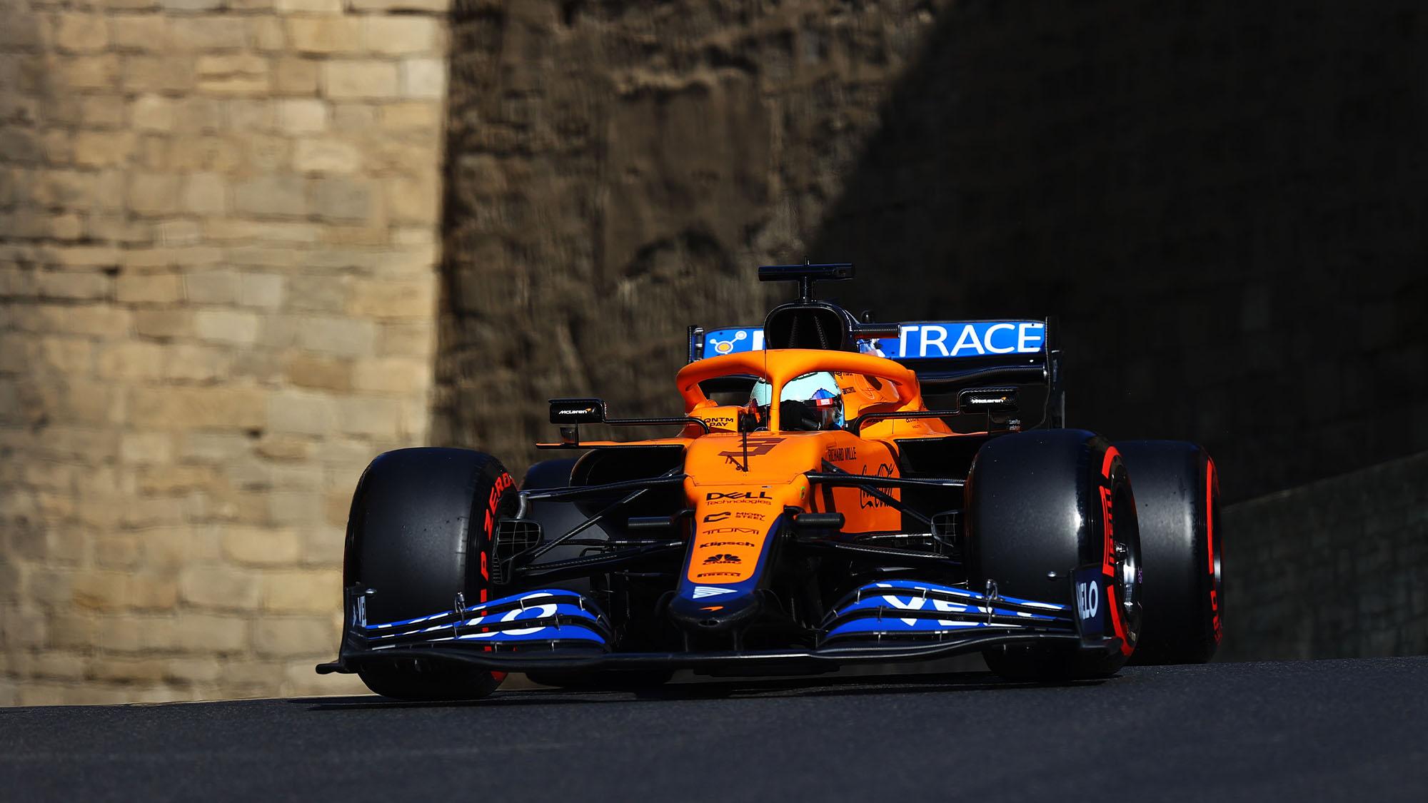 BAKU, AZERBAIJAN - JUNE 05: Daniel Ricciardo of Australia driving the (3) McLaren F1 Team MCL35M Mercedes on track during qualifying ahead of the F1 Grand Prix of Azerbaijan at Baku City Circuit on June 05, 2021 in Baku, Azerbaijan. (Photo by Francois Nel/Getty Images)