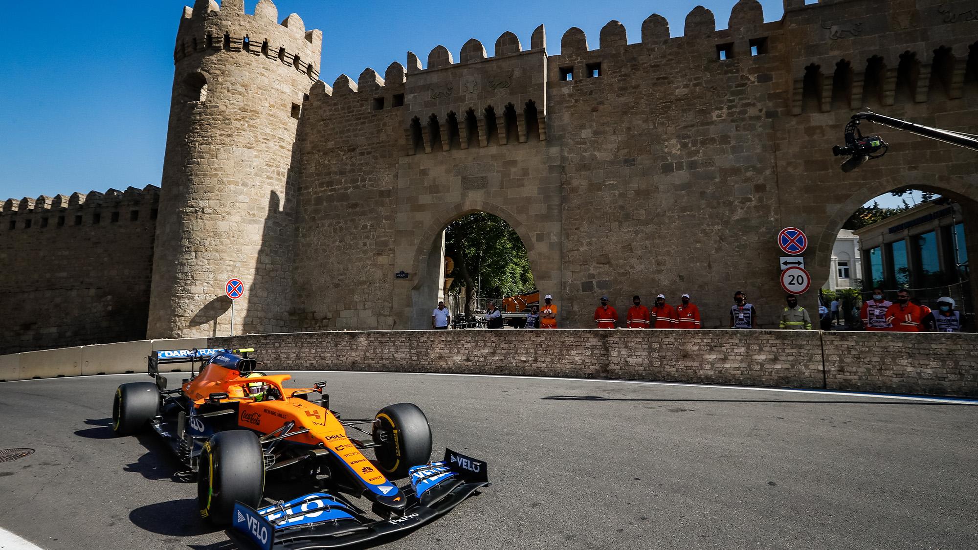 Lando Norris in qualifying for the 2021 Azerbaijan Grand Prix