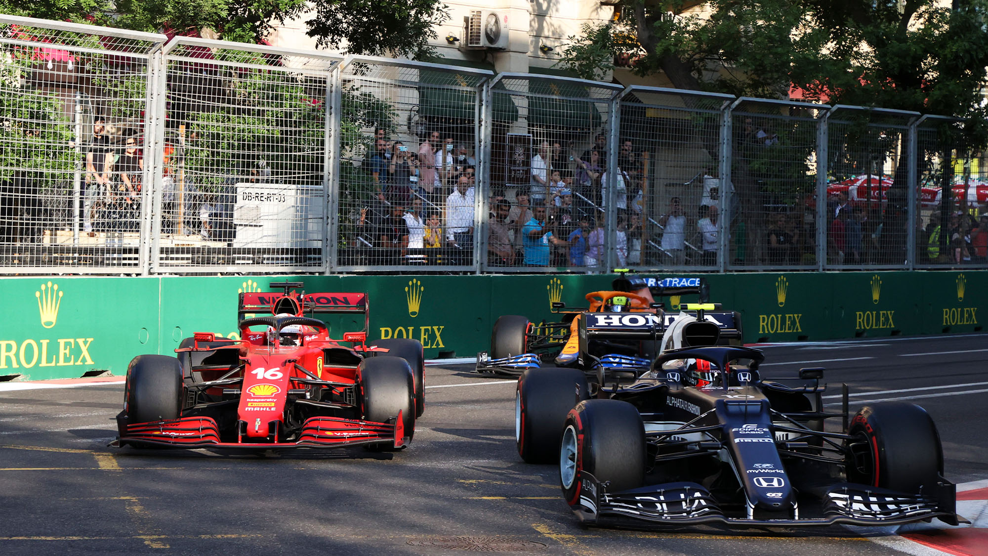 Charles Leclerc battles with Pierre Gasly in the 2021 Azerbaijan GP