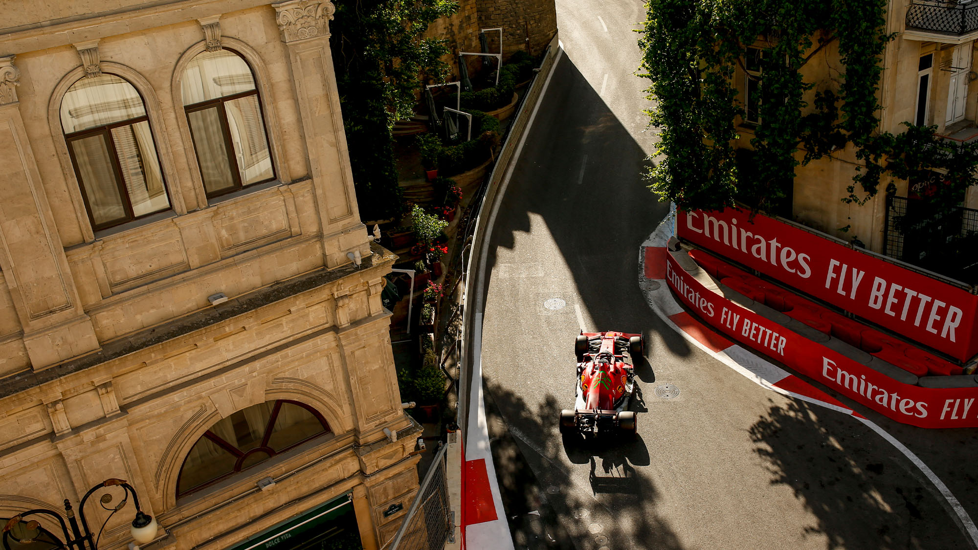 Charles Leclerc in the old town during 2021 Azerbaijan GP