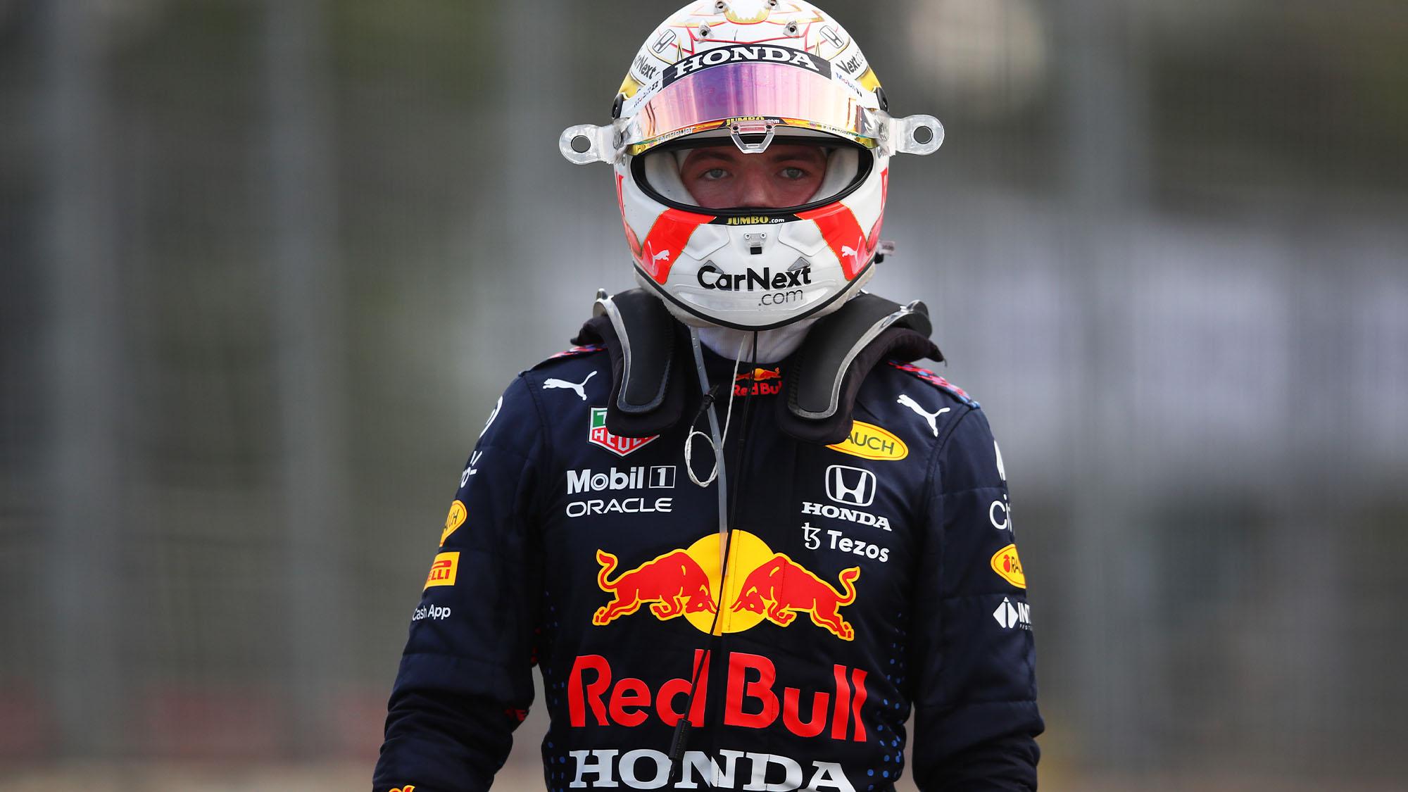 BAKU, AZERBAIJAN - JUNE 06: Max Verstappen of Netherlands and Red Bull Racing looks on as he walks back to the garage after a crash during the F1 Grand Prix of Azerbaijan at Baku City Circuit on June 06, 2021 in Baku, Azerbaijan. (Photo by Joe Portlock - Formula 1/Formula 1 via Getty Images)