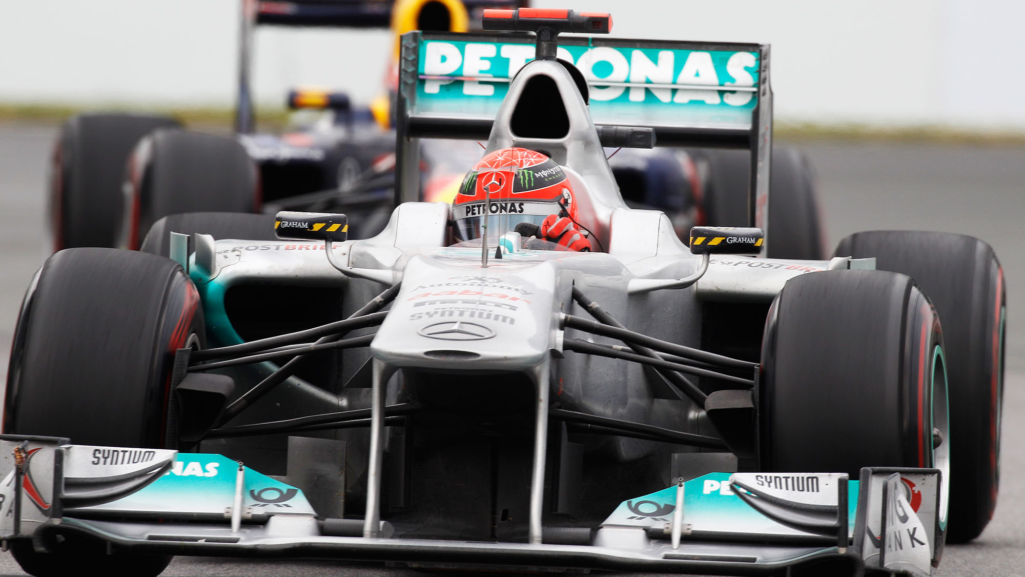 MONTREAL, CANADA - JUNE 12: Michael Schumacher of Germany and Mercedes GP drives during the Canadian Formula One Grand Prix at the Circuit Gilles Villeneuve on June 12, 2011 in Montreal, Canada. (Photo by Mark Thompson/Getty Images)