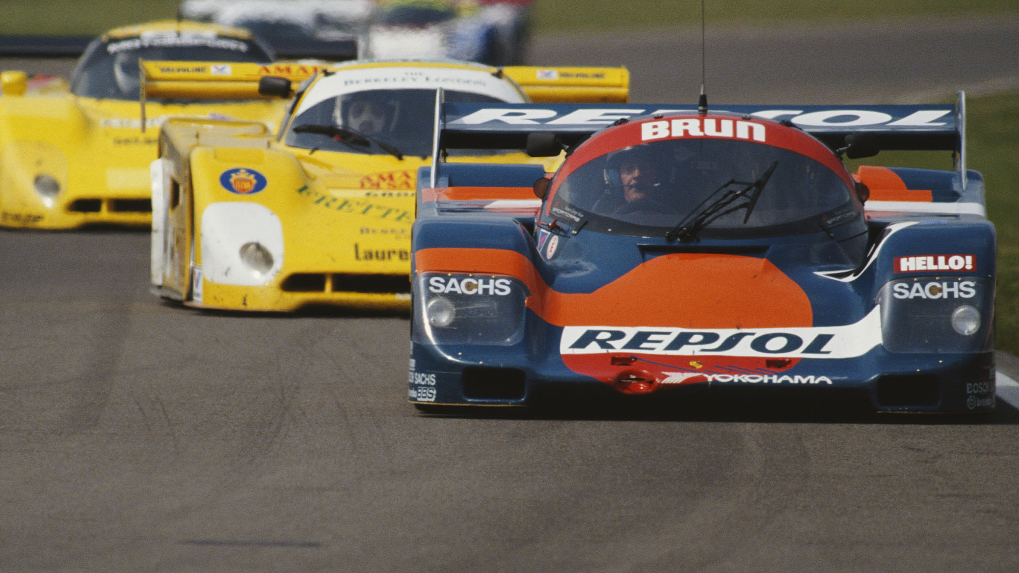 Walter Brun of Switzerland drives the #16 Repsol Brun Motorsport Porsche 962 C during the FIA World Sportscar Prototype Championship Empire Trophy on 20th May 1990 at the Silverstone Circuit in Silverstone, United Kingdom.(Photo by Darrell Ingham/Getty Images)