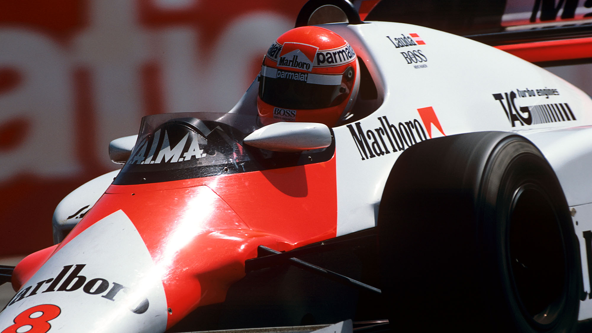 Niki Lauda, McLaren-TAG MP4/2, Grand Prix of South Africa, Kyalami, 07 April 1984. (Photo by Paul-Henri Cahier/Getty Images)