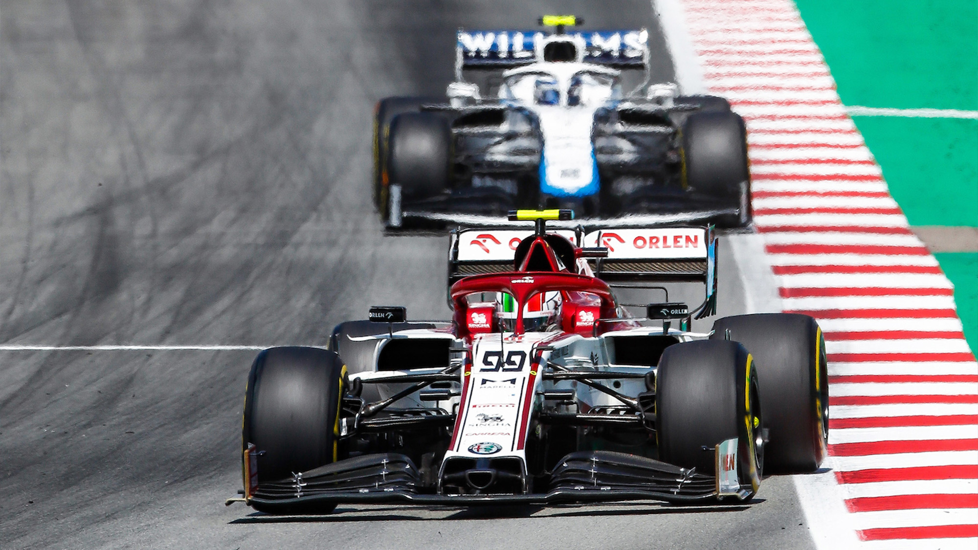 Antonio Giovinazzi and Nicholas Latifi on track in the 2020 Spanish GP