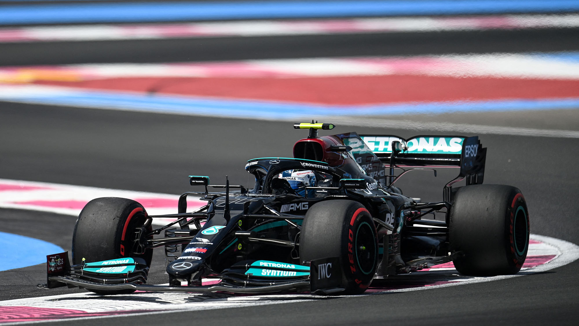 TOPSHOT - Mercedes' Finnish driver Valtteri Bottas drives during the first practice session at the Circuit Paul-Ricard in Le Castellet, southern France, on June 18, 2021, two days ahead of the French Formula One Grand Prix. (Photo by CHRISTOPHE SIMON / AFP) (Photo by CHRISTOPHE SIMON/AFP via Getty Images)