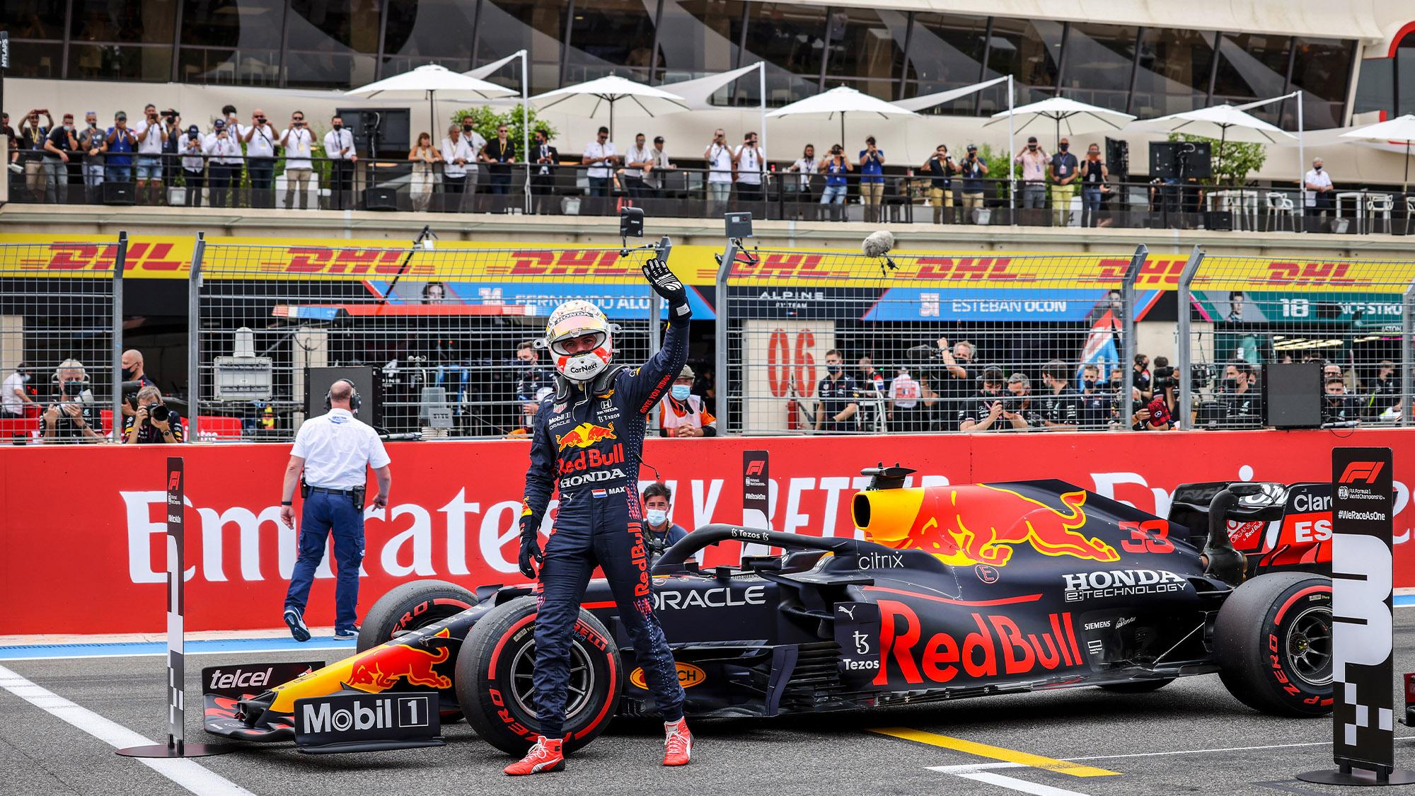 Max Verstappen celebrates pole at the 2021 French Grand Prix