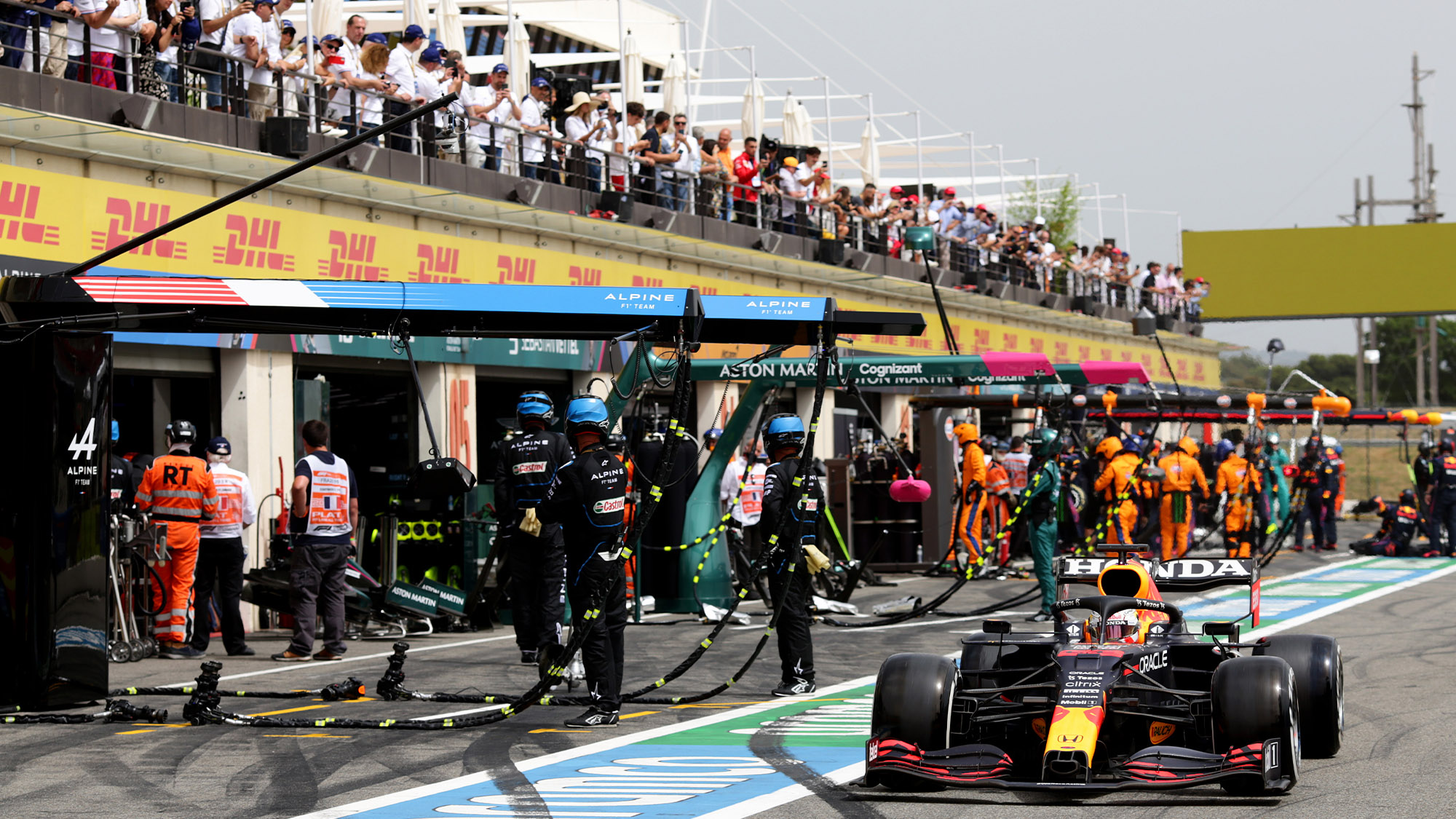 Max Verstappen leaves the pits during the 2021 French Grand Prix