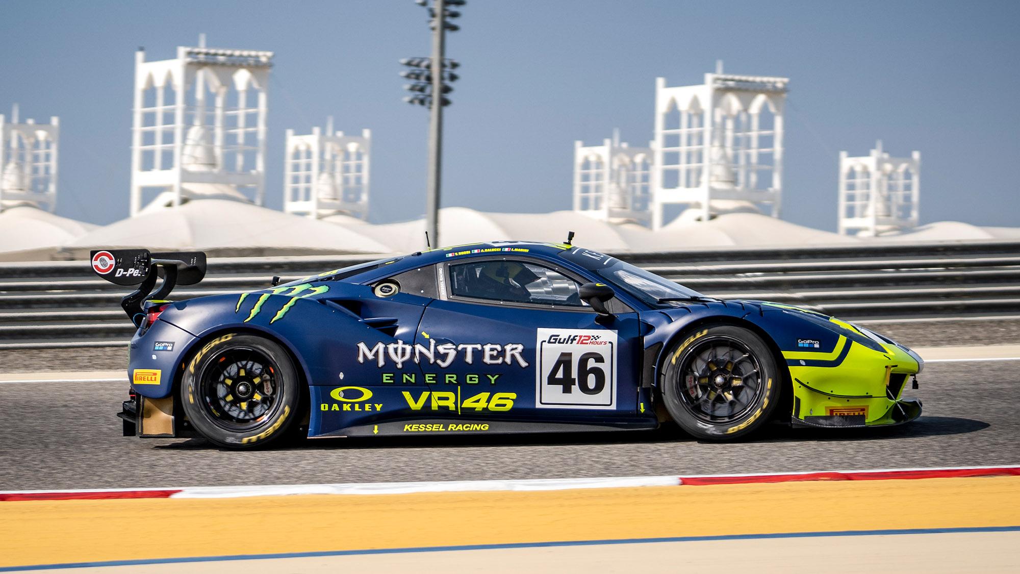 Valentino Rossi drives a Ferrari GT3 in the Gulf 12 Hours in 2021