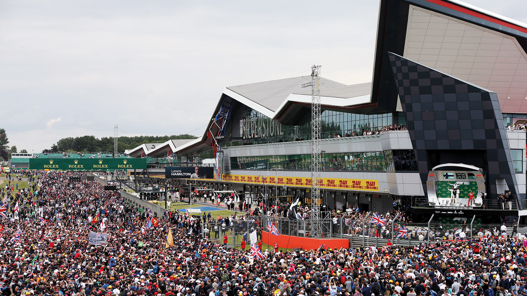 Crowds on the Silverstone circuit at the end of the British Grand Prix