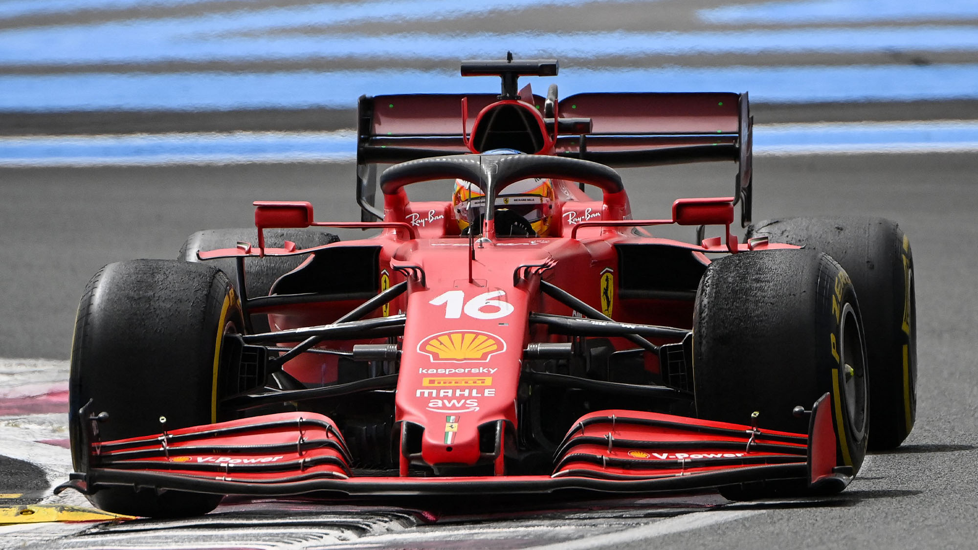 Ferrari's Monegasque driver Charles Leclerc drives during the French Formula One Grand Prix at the Circuit Paul-Ricard in Le Castellet, southern France, on June 20, 2021. (Photo by CHRISTOPHE SIMON / AFP) (Photo by CHRISTOPHE SIMON/AFP via Getty Images)