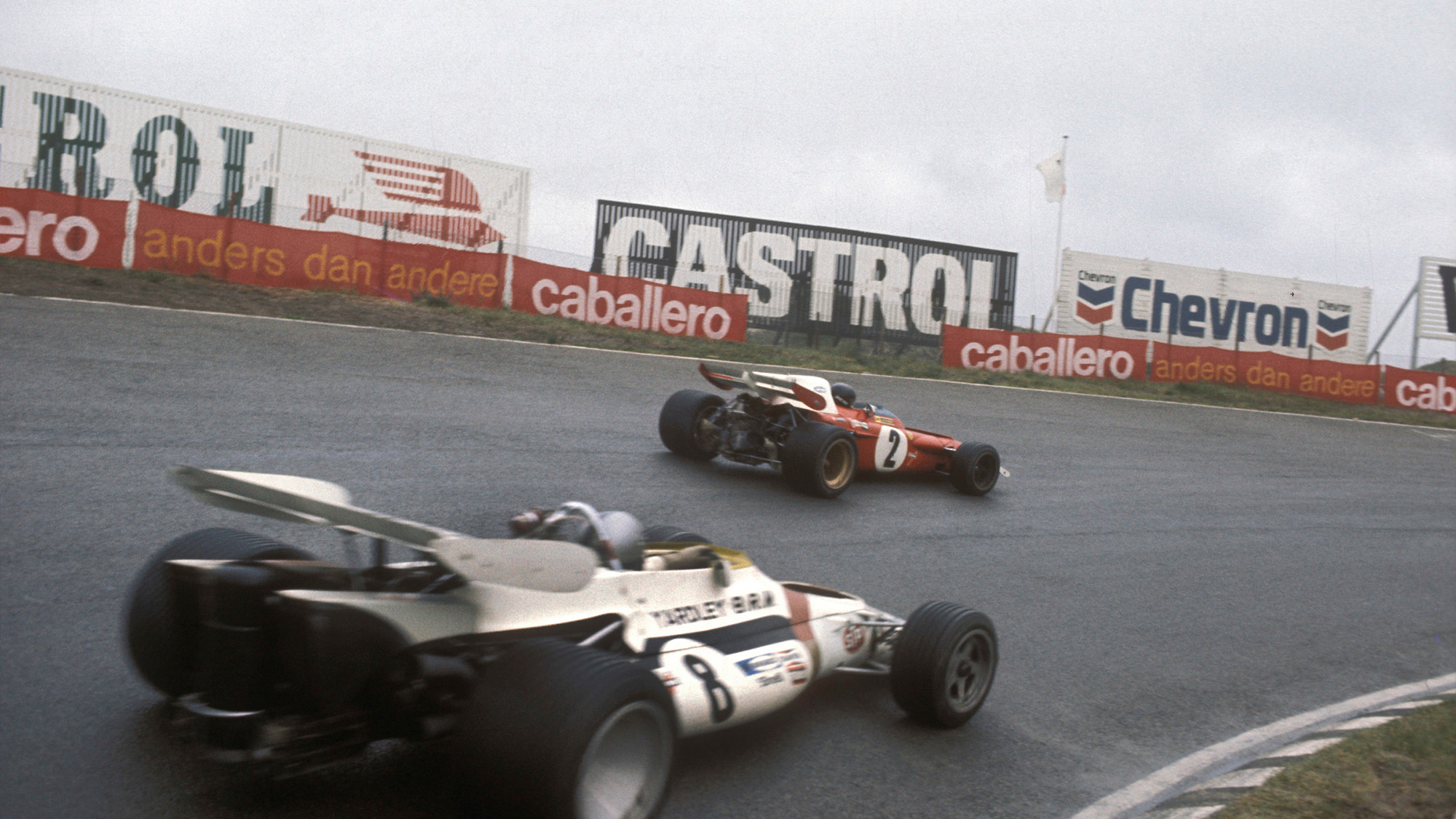 Jacky Ickx leads Pedro Rodriguez in the 1971 Dutch grand Prix