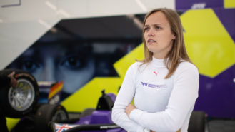 Sarah Moore: the supermarket delivery driver racing at a grand prix weekend