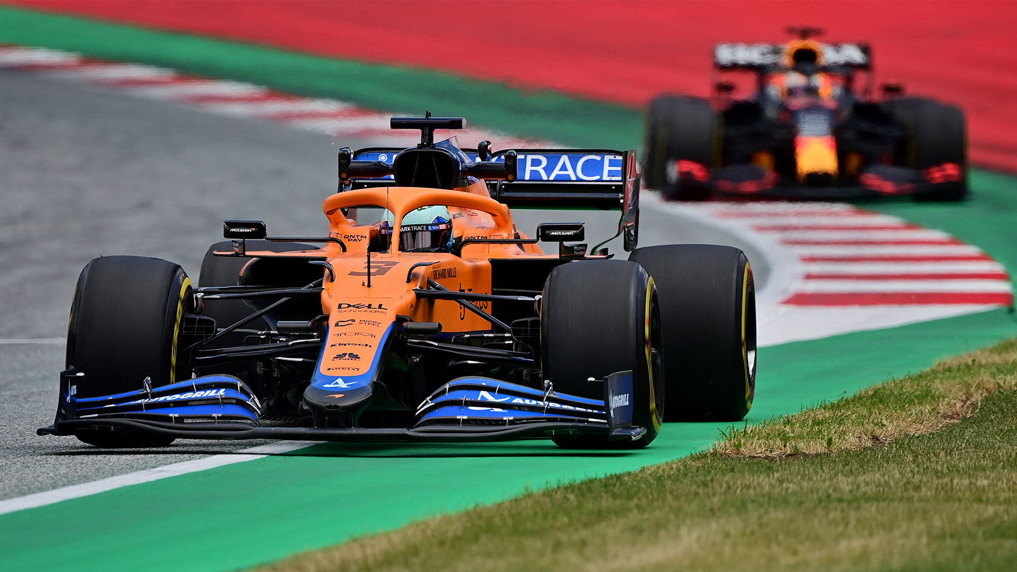 McLaren's Australian driver Daniel Ricciardo drives during the first practice session at the Red Bull Ring race track in Spielberg, Austria, on June 25, 2021, ahead of the Formula One Styrian Grand Prix. (Photo by ANDREJ ISAKOVIC / AFP) (Photo by ANDREJ ISAKOVIC/AFP via Getty Images)