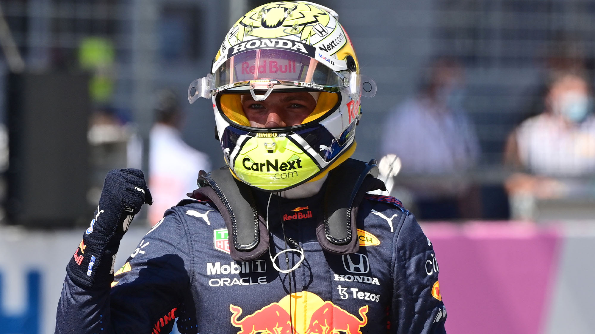 Red Bull's Dutch driver Max Verstappen celebrates after taking the pole position after the qualifying session at the Red Bull Ring race track in Spielberg, Austria, on June 26, 2021, ahead of the Formula One Styrian Grand Prix. (Photo by ANDREJ ISAKOVIC / AFP) (Photo by ANDREJ ISAKOVIC/AFP via Getty Images)