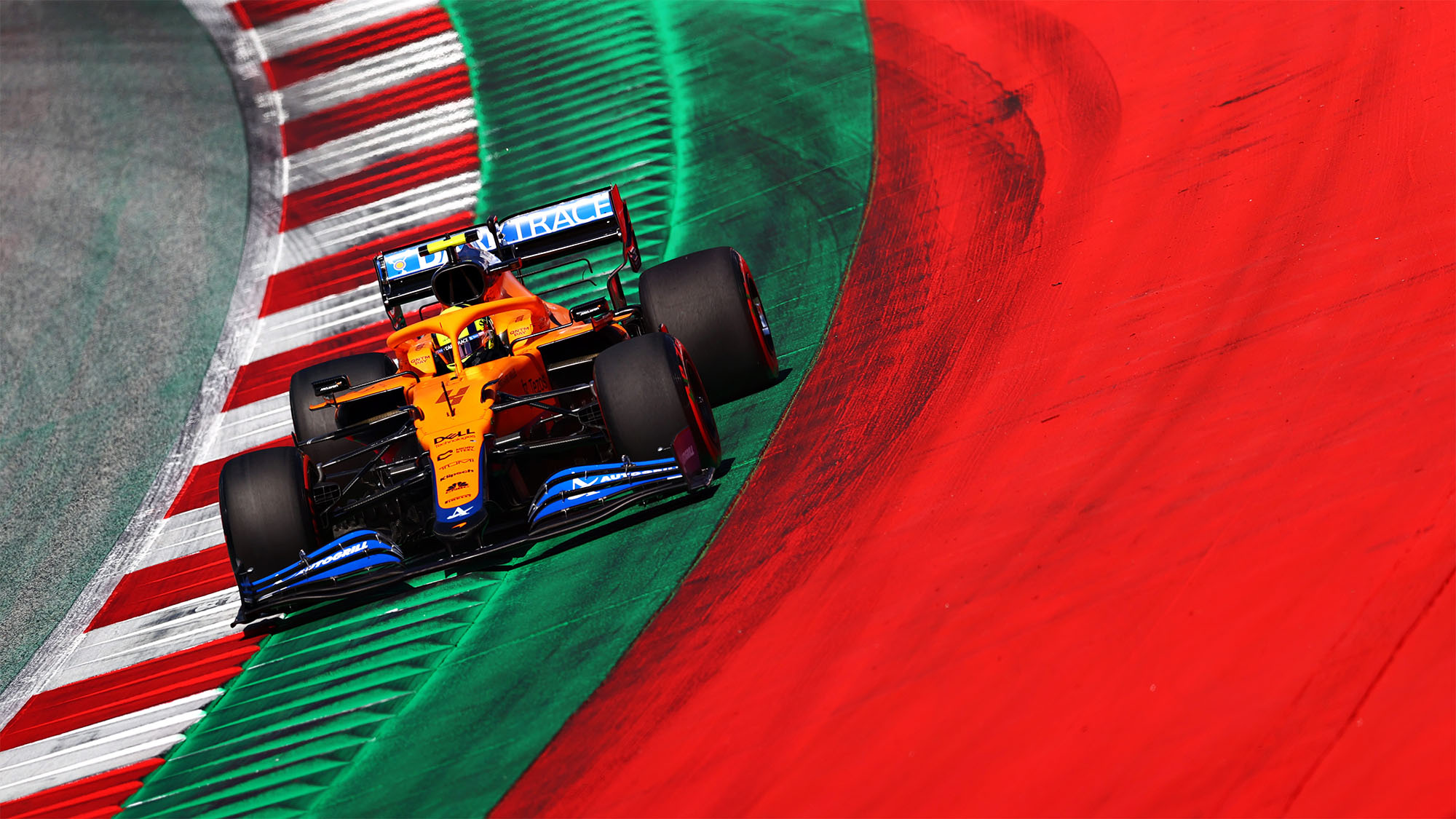 SPIELBERG, AUSTRIA - JUNE 26: Lando Norris of Great Britain driving the (4) McLaren F1 Team MCL35M Mercedes during qualifying ahead of the F1 Grand Prix of Styria at Red Bull Ring on June 26, 2021 in Spielberg, Austria. (Photo by Dan Istitene - Formula 1/Formula 1 via Getty Images)