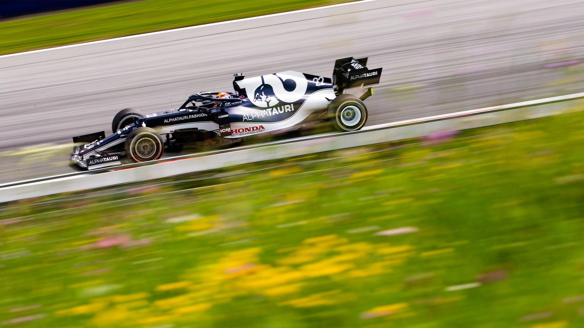 Yuki Tsunoda qualifying for the 2021 Styrian Grand Prix