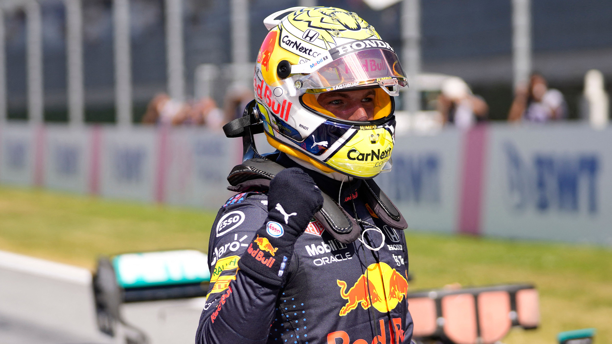 Max Verstappen celebrates pole position at the 2021 Styrian GP