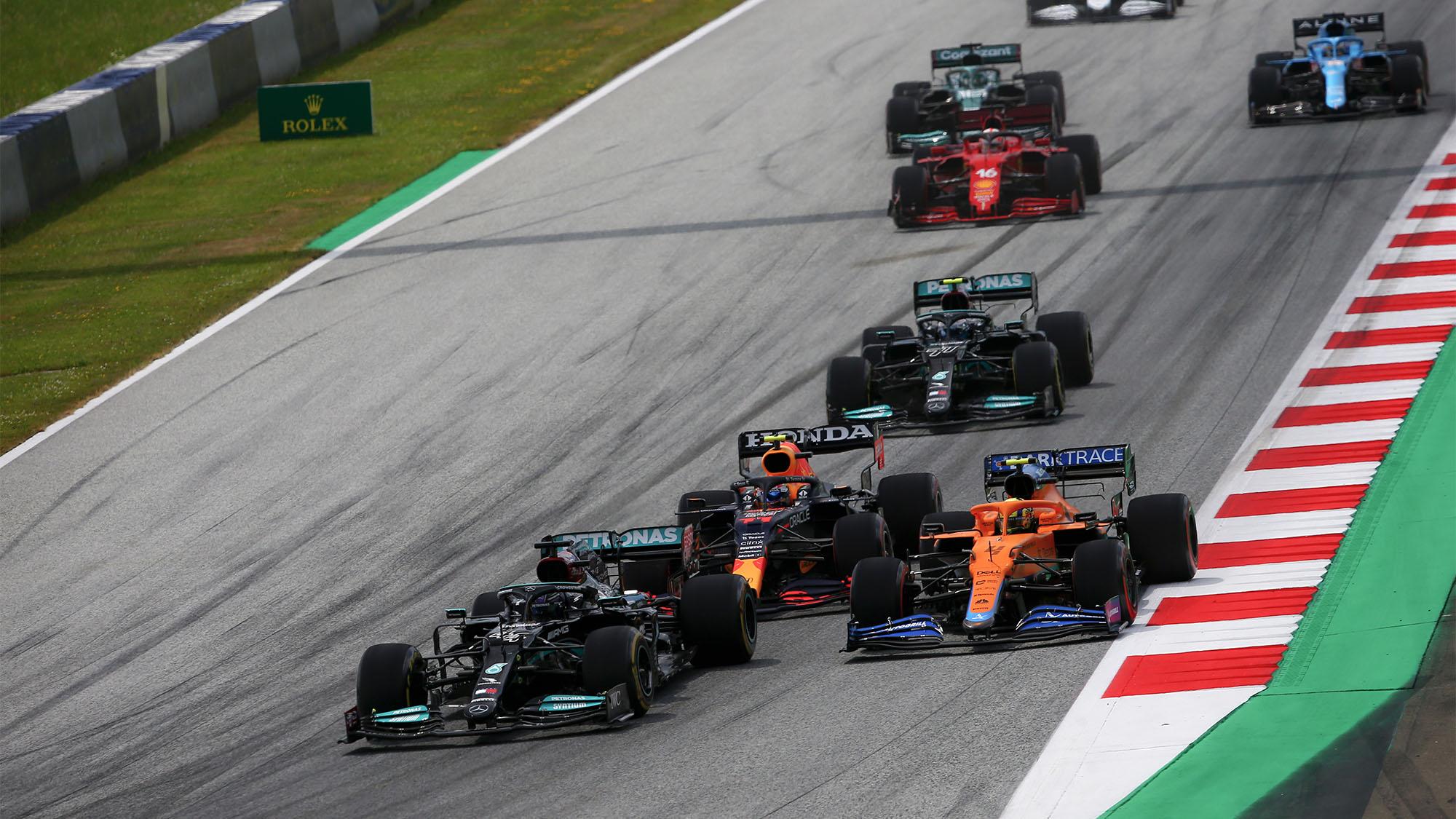 Lando Norris with Lewis Hamilton and Sergio Perez at the 2021 Styrian Grand Prix