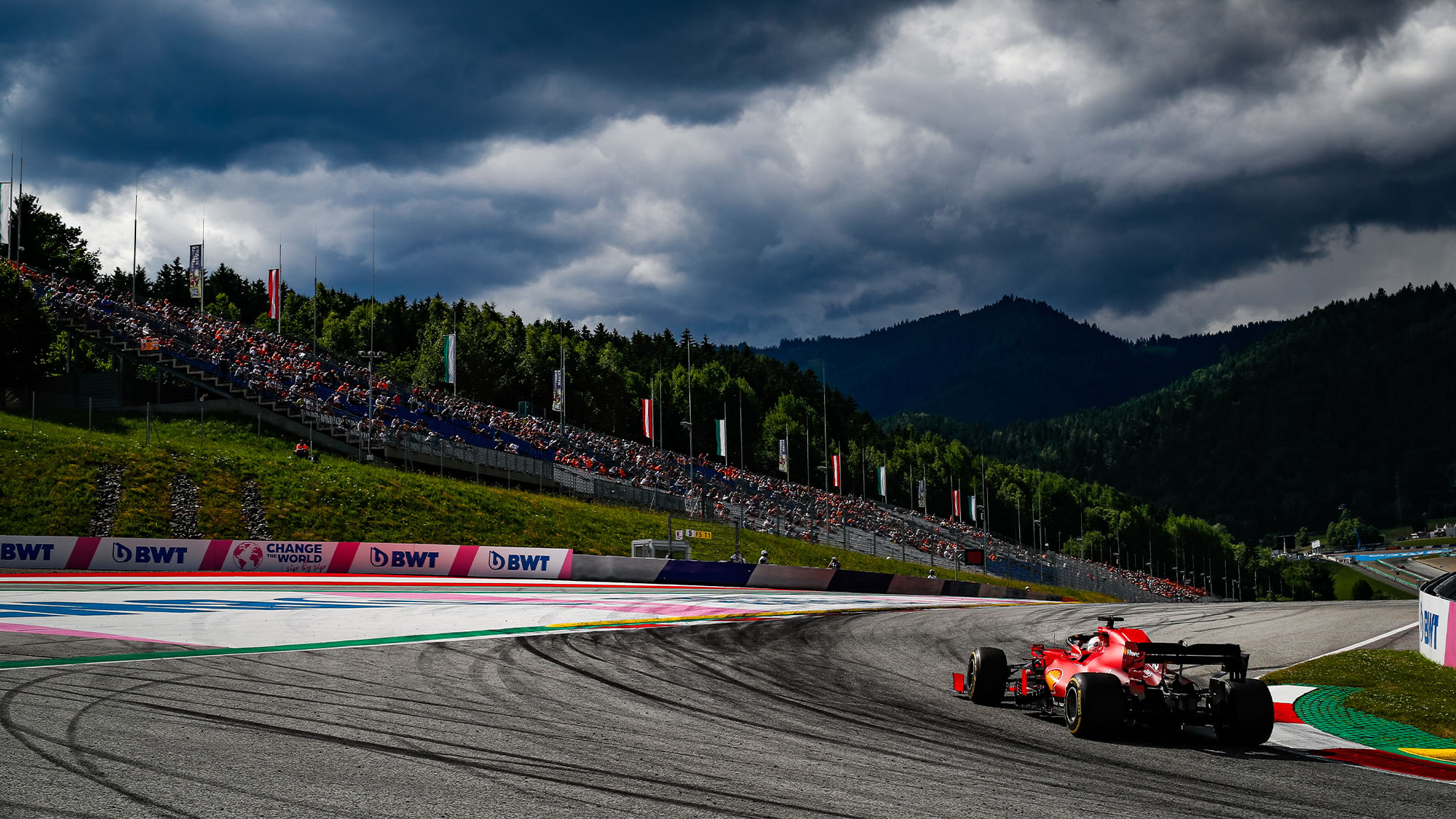Charles Leclerc under dark clouds at the 2021 Styrian Grand Prix