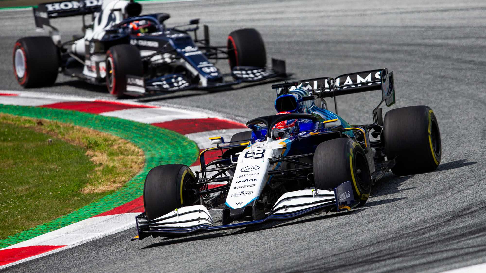 63 RUSSELL George (gbr), Williams Racing F1 FW43B, action during the Formula 1 Grosser Preis Der Steiermark 2021, 2021 Styrian Grand Prix, 8th round of the 2021 FIA Formula One World Championship from June 25 to 27, 2021 on the Red Bull Ring , in Spielberg, Austria - Photo Joao Filipe / DPPI