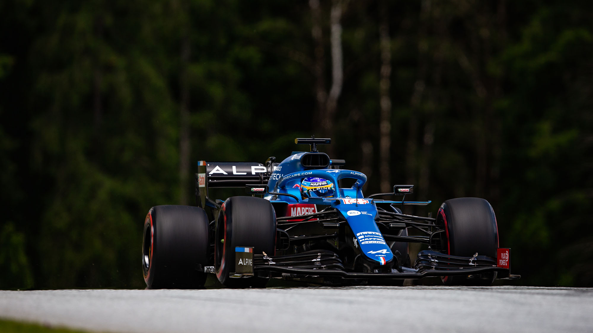 14 ALONSO Fernando (spa), Alpine F1 A521, action during the Formula 1 Grosser Preis Der Steiermark 2021, 2021 Styrian Grand Prix, 8th round of the 2021 FIA Formula One World Championship from June 25 to 27, 2021 on the Red Bull Ring, in Spielberg, Austria - Photo Joao Filipe / DPPI