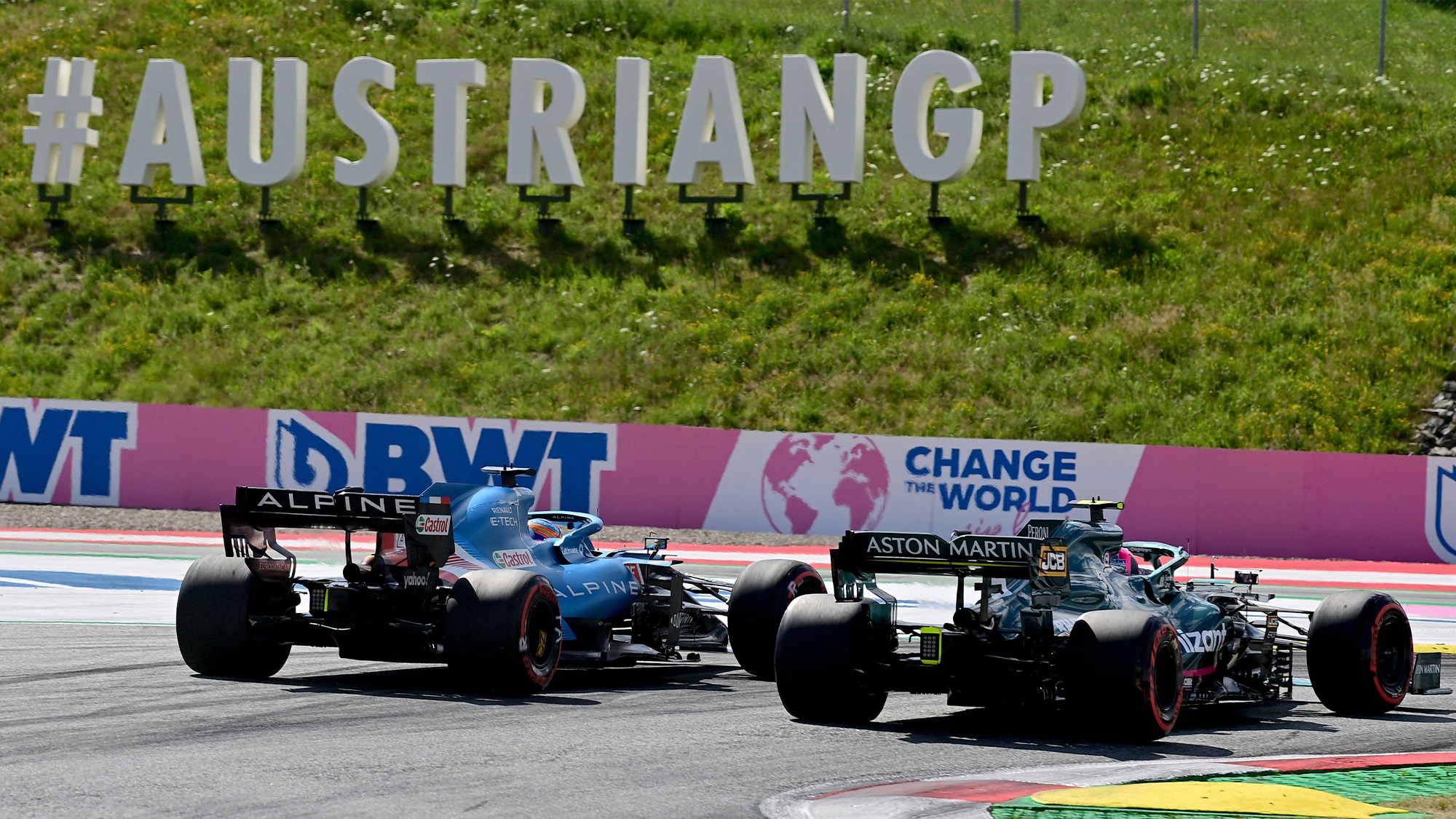Fernando Alonso alongside Sebastian Vettel in qualifying for the 2021 Austrian Grand Prix