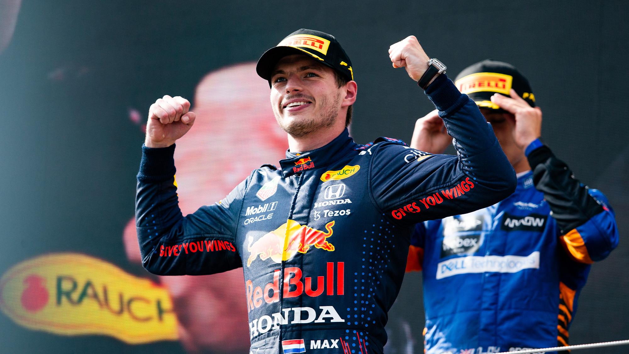 Max Verstappen celebrates victory at the 2021 Austrian Grand Prix