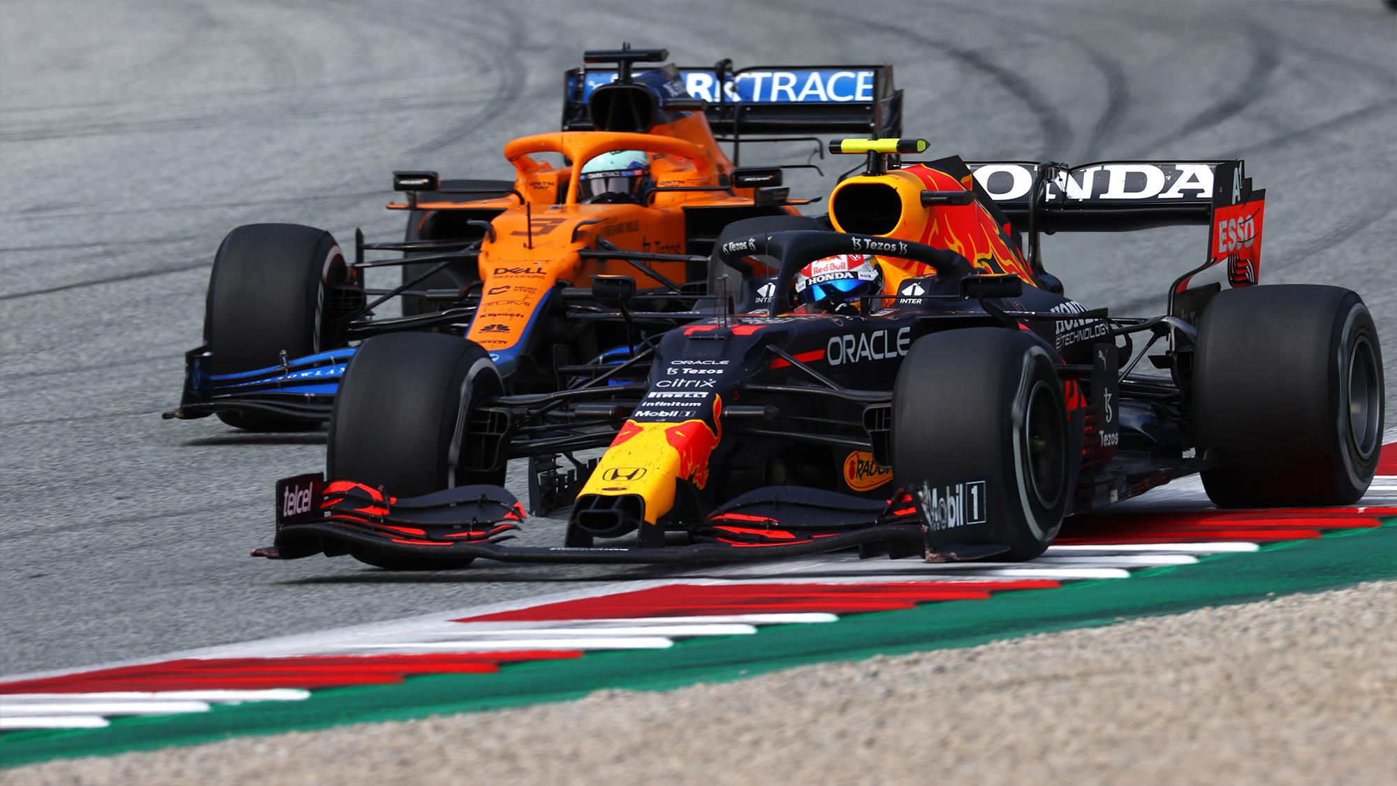 Sergio Perez and Daniel Ricciardo at the 2021 Austrian Grand Prix