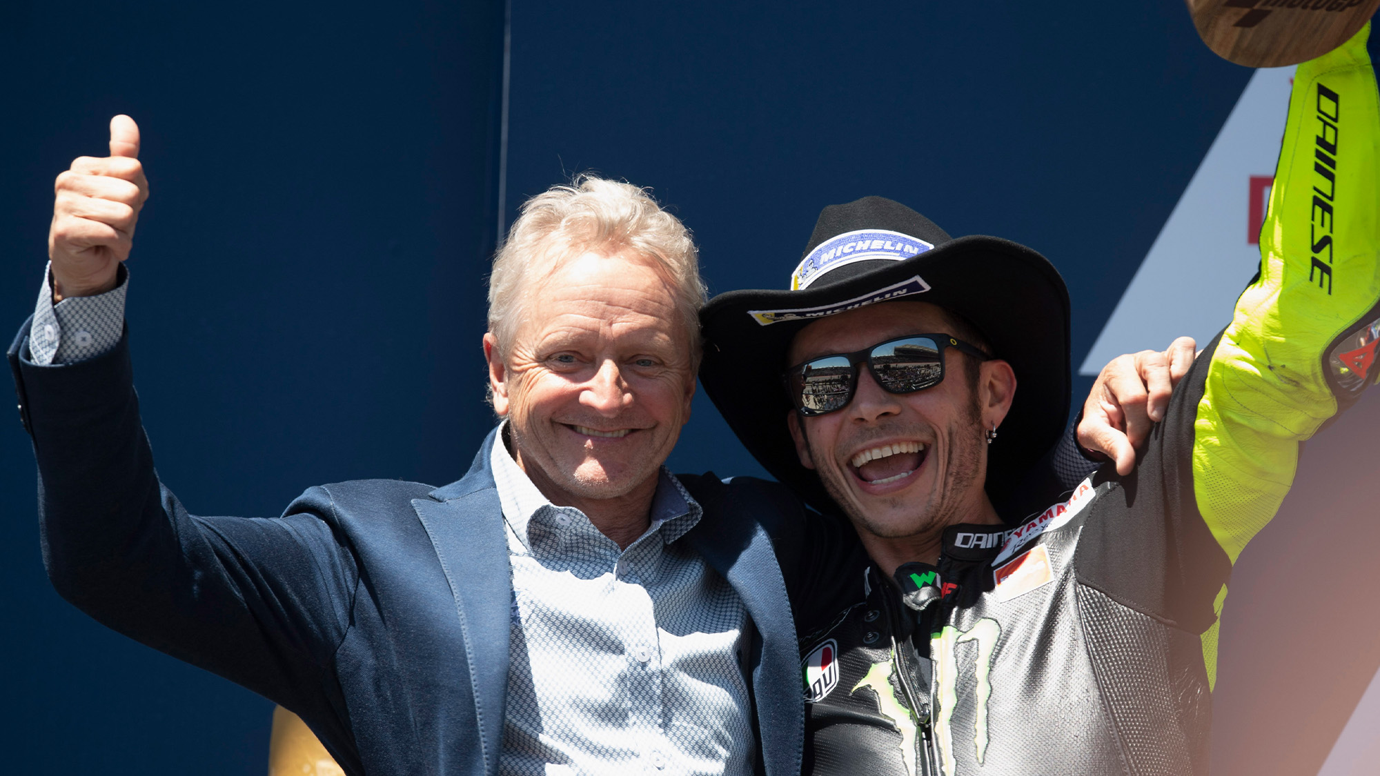 Kevin Schwantz and Valentino Rossi on the podium at COTA 2019
