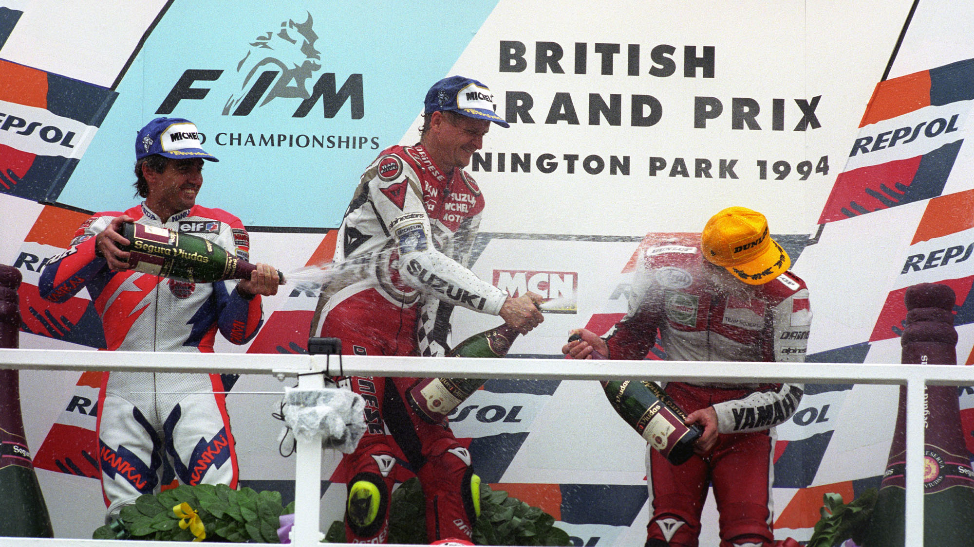 1994 500cc British Grand Prix podium with Kevin Schwantz