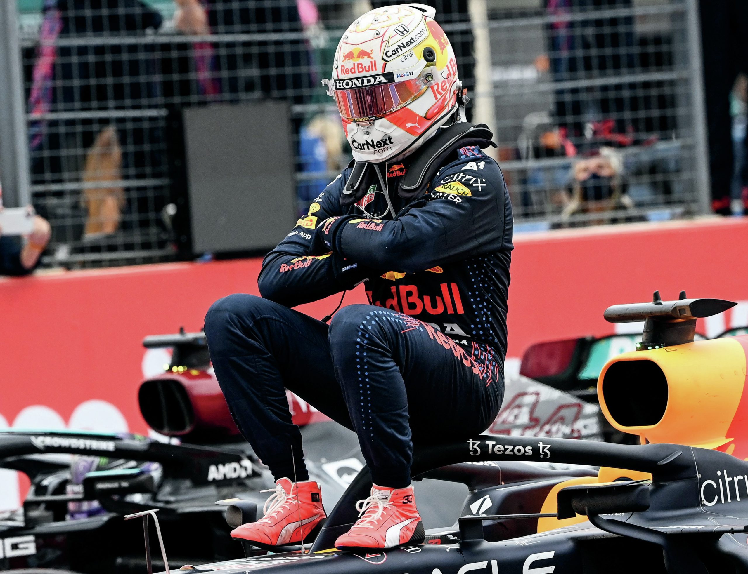 Max Verstappen sits on his Red Bull after winning the 2021 French Grand Prix