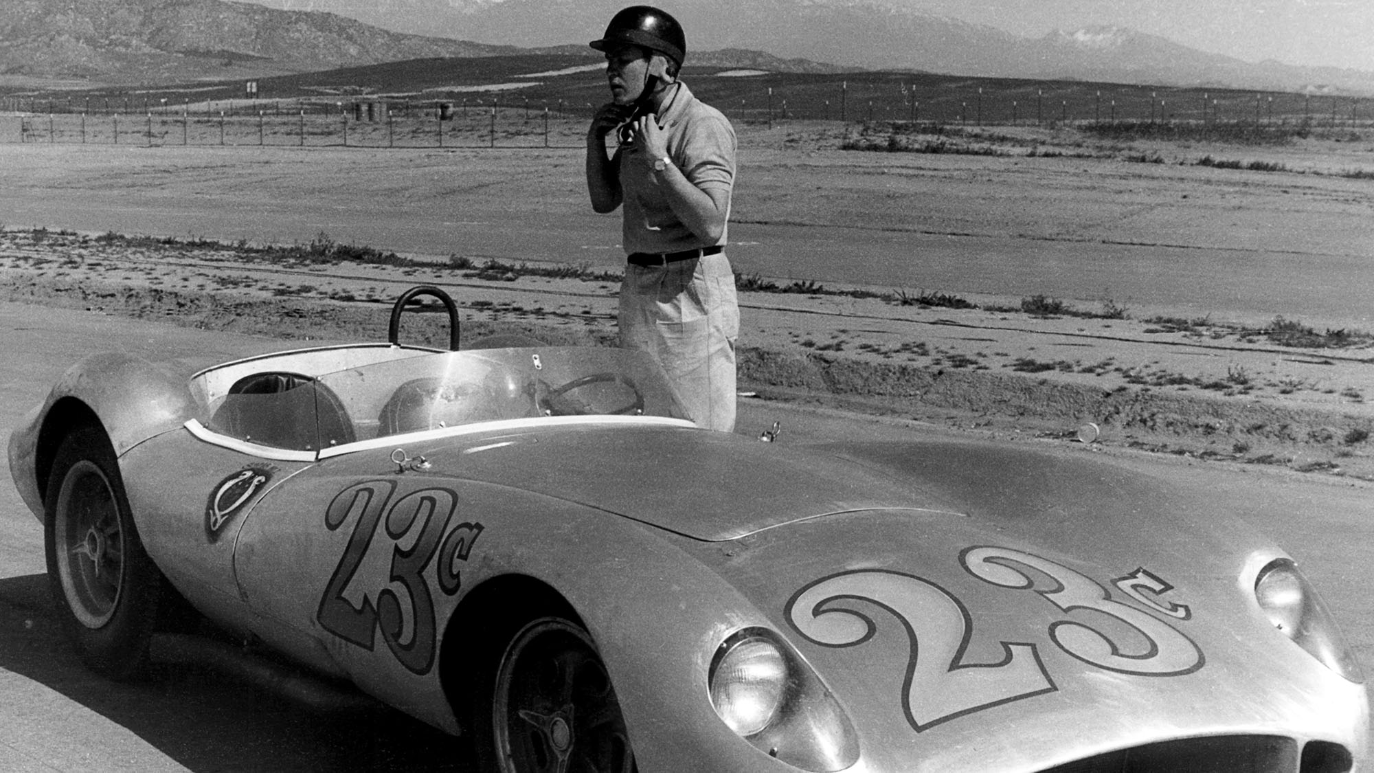 Lance Reventlow, Scarab roadster, Testing, Riverside International Raceway, 11 January 1958. Lance Reventlow testing his Scarab roadster at Riverside race track. (Photo by Bernard Cahier/Getty Images)