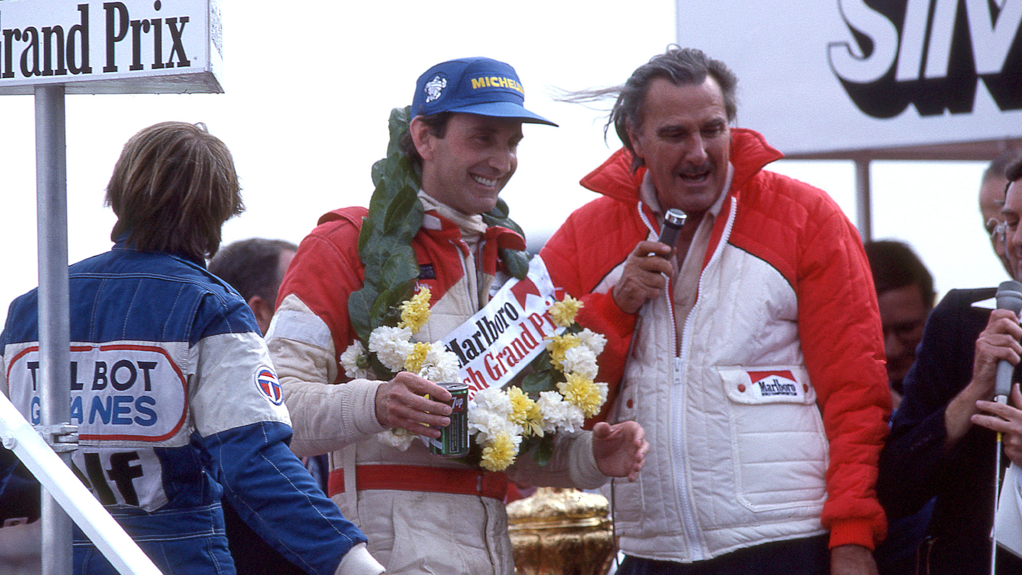 John Watson wins the British GP standing on the podium, 1981. (Photo by: GP Library/Universal Images Group via Getty Images)