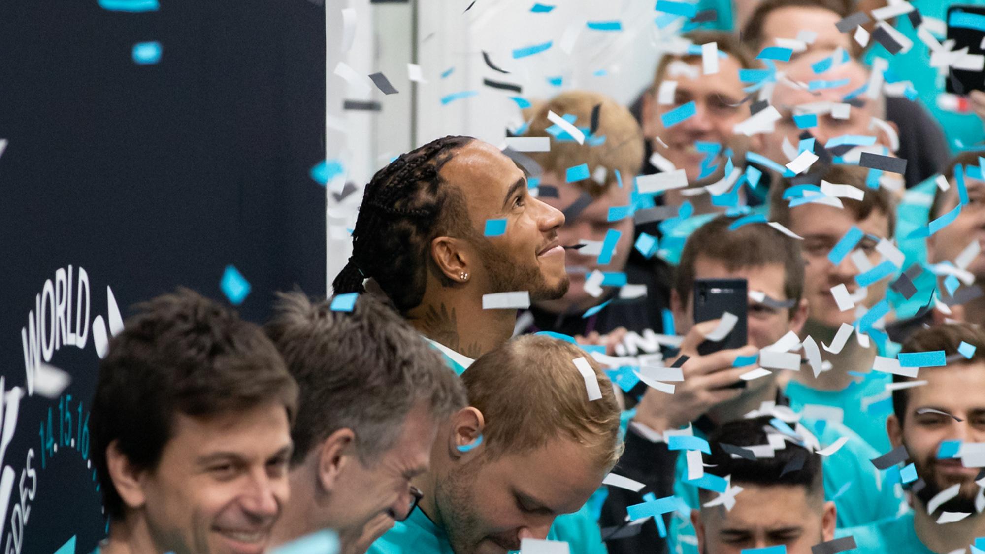 Lewis Hamilton during Mercedes 2019 F1 title celebrations