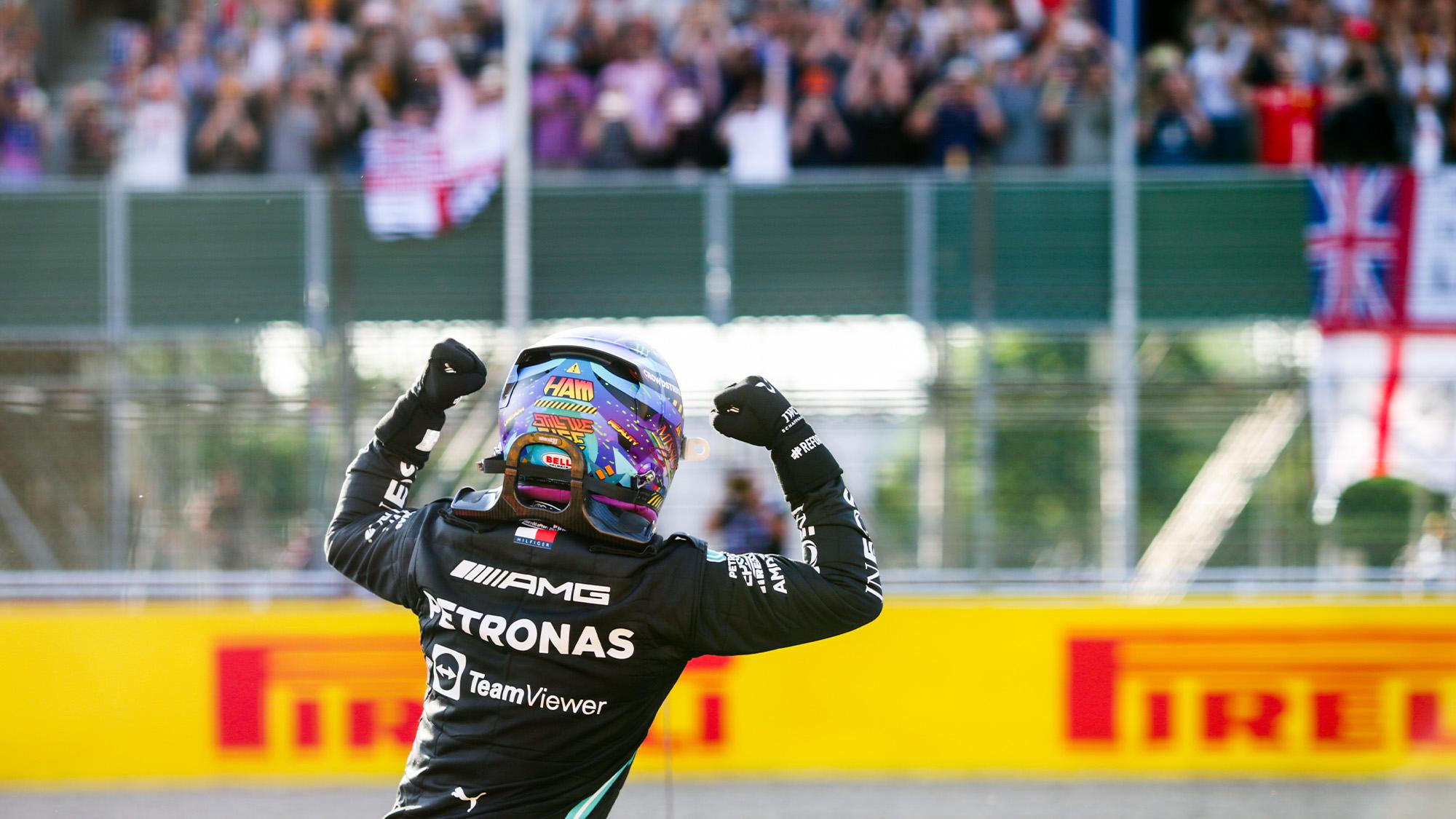 Lewis Hamilton celebrates after 2021 British Grand Prix qualifying