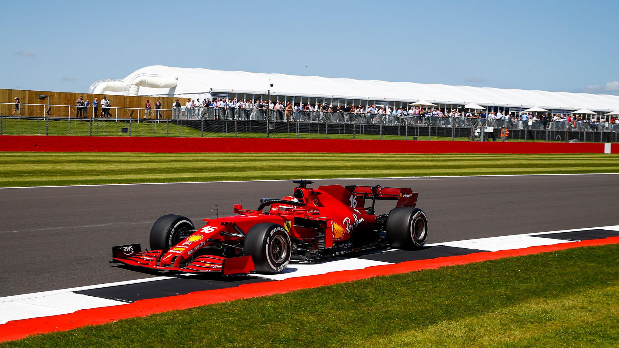 16 LECLERC Charles (mco), Scuderia Ferrari SF21, action during the Formula 1 Pirelli British Grand Prix 2021, 10th round of the 2021 FIA Formula One World Championship from July 16 to 18, 2021 on the Silverstone Circuit, in Silverstone, United Kingdom - Photo Xavi Bonilla / DPPI