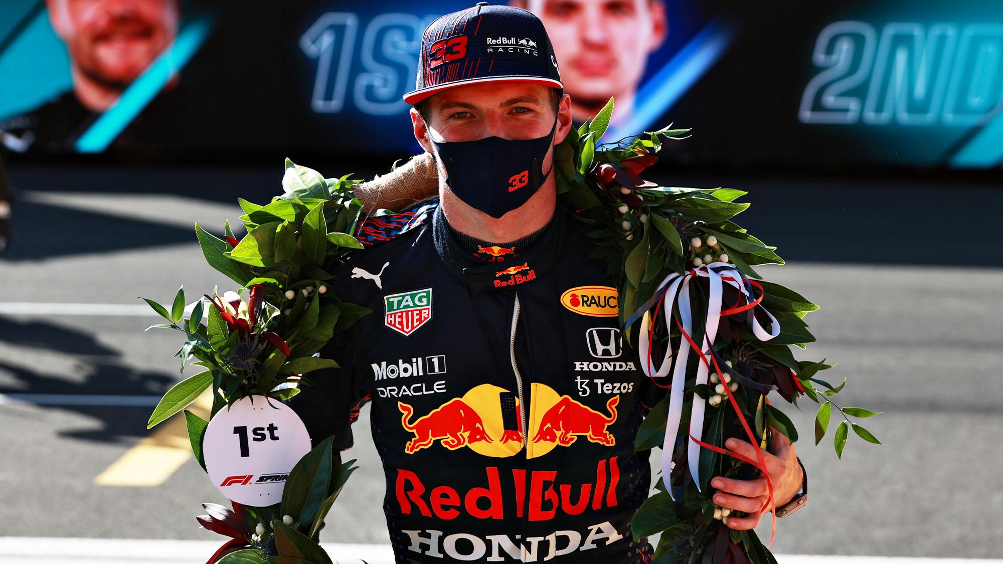 verstappen wreath after Silverstone sprint qualifying