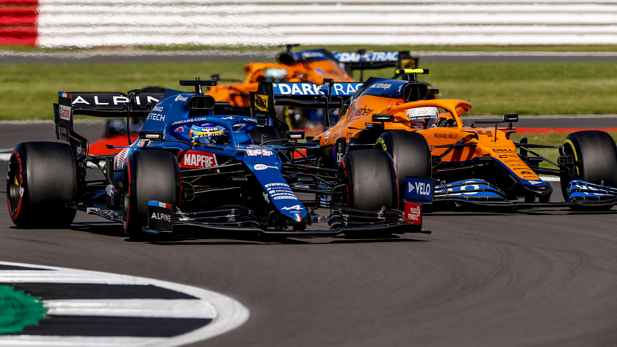 Fernando Alonso and Lando Norris in the 2021 British GP sprint race