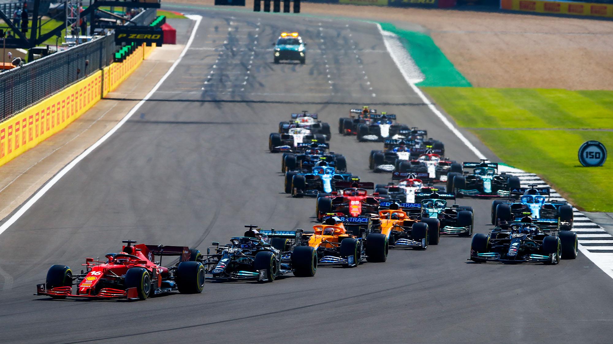 Second start, 16 LECLERC Charles (mco), Scuderia Ferrari SF21, action during the Formula 1 Pirelli British Grand Prix 2021, 10th round of the 2021 FIA Formula One World Championship from July 16 to 18, 2021 on the Silverstone Circuit, in Silverstone, United Kingdom - Photo Xavi Bonilla / DPPI
