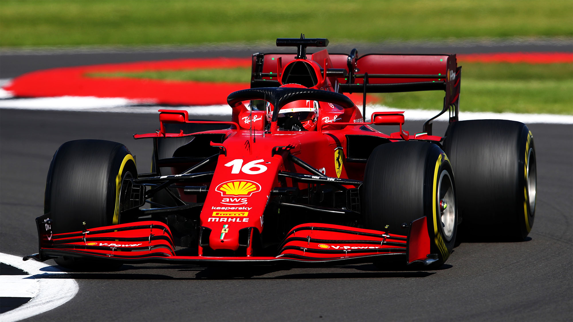 NORTHAMPTON, ENGLAND - JULY 18: Charles Leclerc of Monaco driving the (16) Scuderia Ferrari SF21 during the F1 Grand Prix of Great Britain at Silverstone on July 18, 2021 in Northampton, England. (Photo by Joe Portlock - Formula 1/Formula 1 via Getty Images)