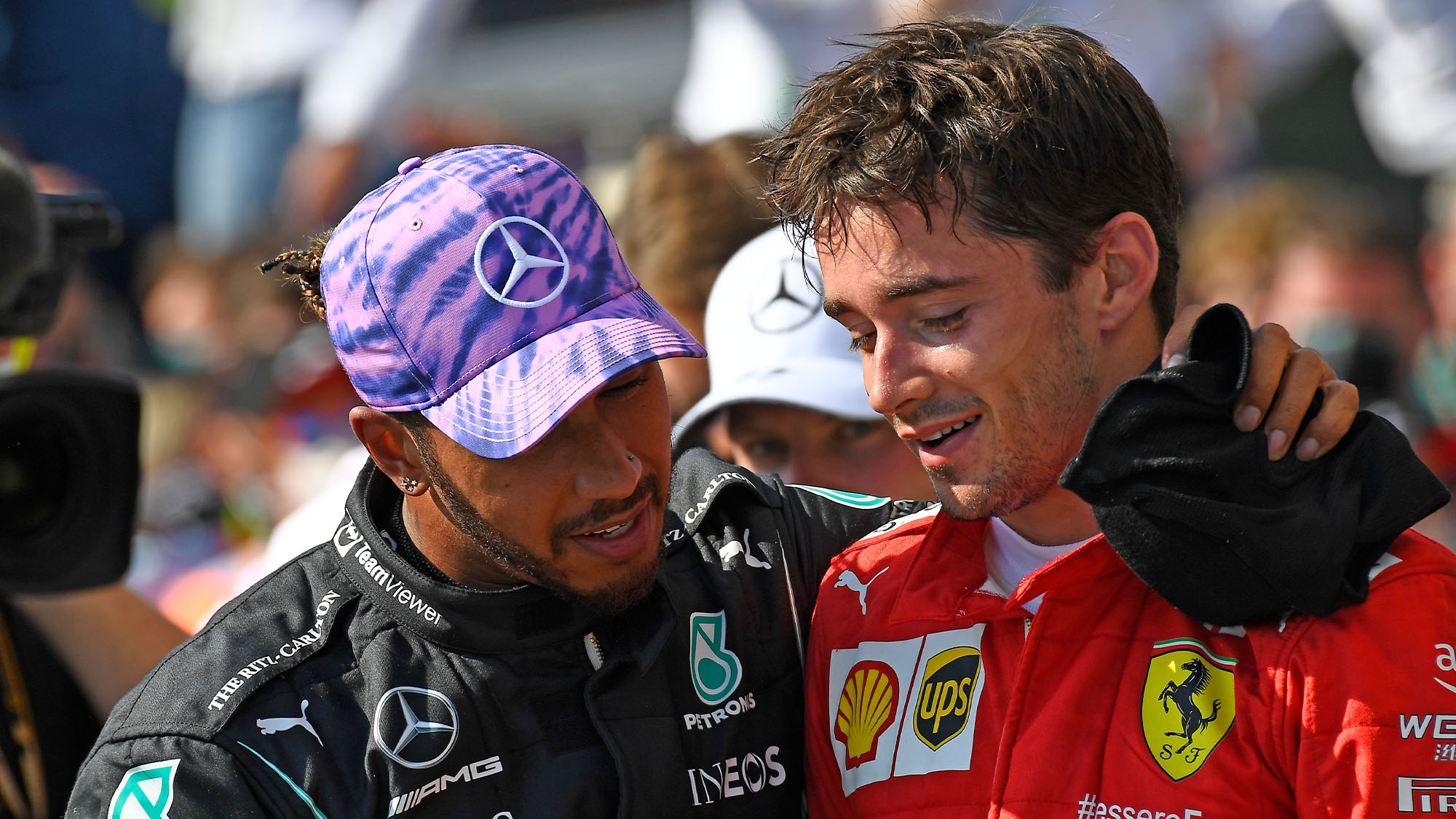 Lewis Hamilton (Mercedes) and Charles Leclerc (Ferrari) after the 2021 British Grand Prix at Silverstone. Photo: Grand Prix Photo