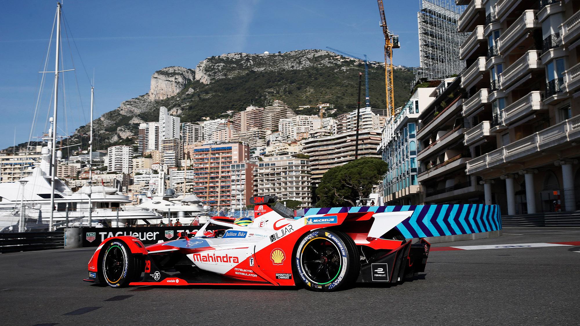 Mahindra Formula E car of Alexander Sims at Monaco in 2021