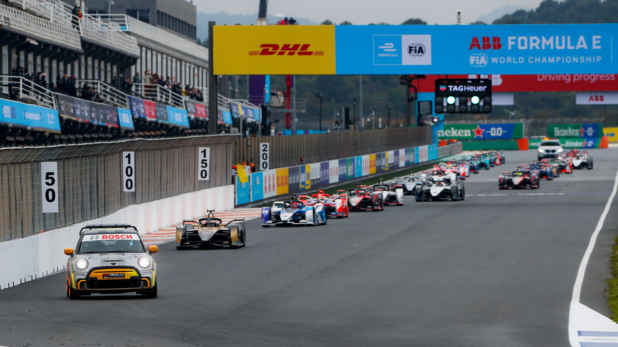 Safety car leads the pack at the 2021 Valencia ePrix