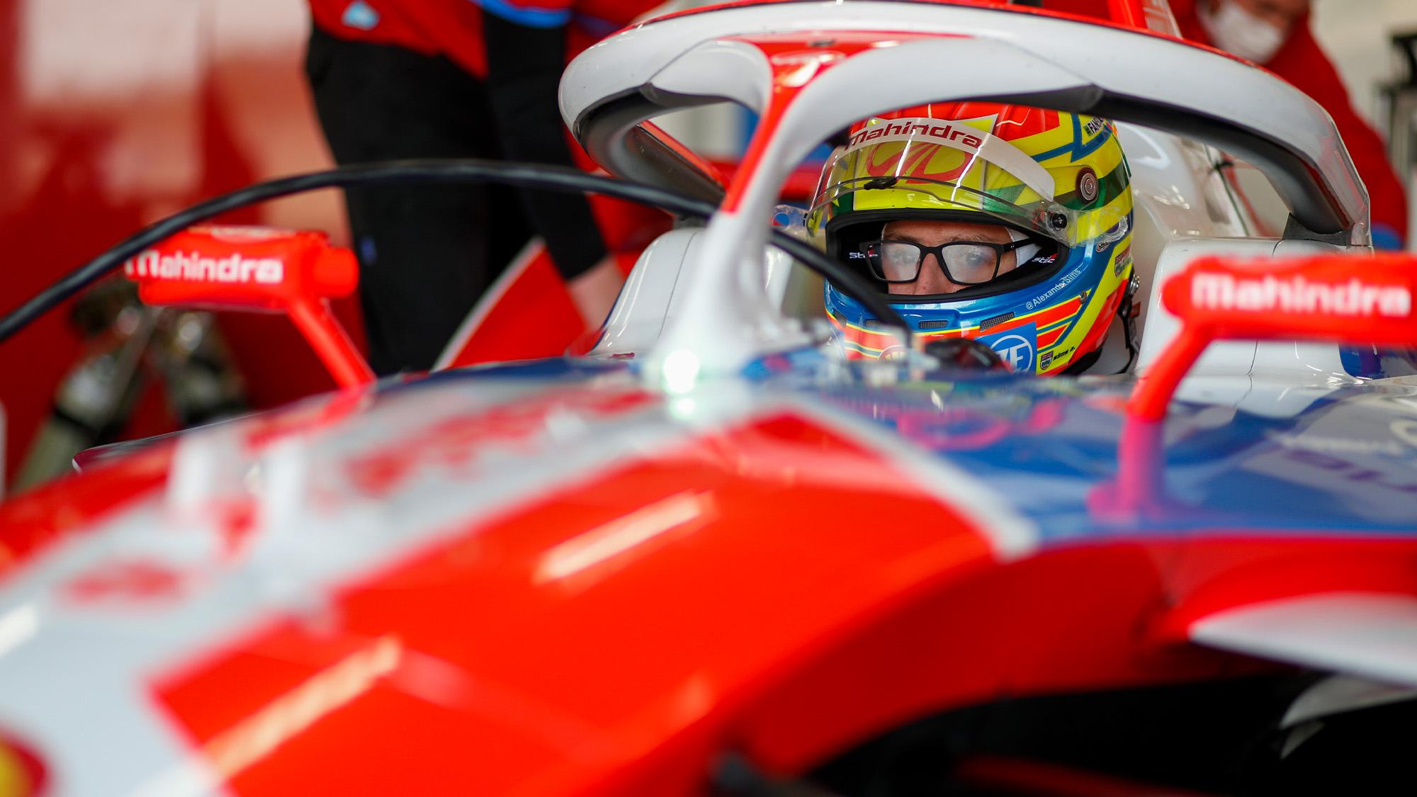 Alexander Sims at the wheel of his Mahindra Formula E car